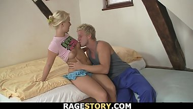 Cheated blonde bitch rides his angry cock