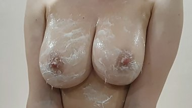 Homemade boobs in oil