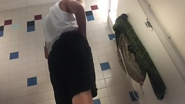 friend from school jacks off in bathroom stall small dick but hot guy