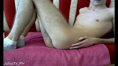 Teen boy chaturbate dildo play & cumming twice