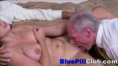 Big Tits Teenage Cockslut Fucking Couple Of Elderly Geezers