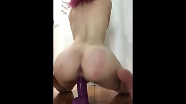 Riding My Big Dildo Till I Cum Before My Parents Come Home