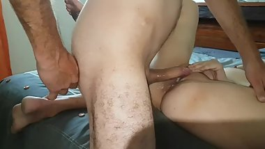 A quick missionary fuck on the bed with creampie