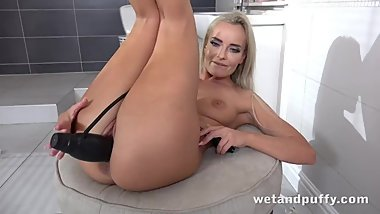 Stunning Blonde Enjoys MASSIVE Black Dildo!