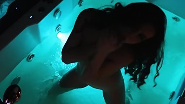 Naked young girl shows herself and behaves liberated on camera