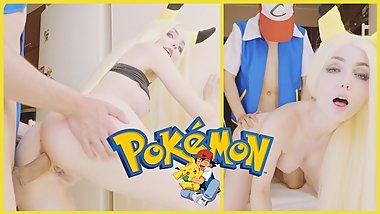 Pokemon. Ash training Pikachu anal