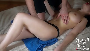 Teen Oil Massage with Cum Hard Closeup