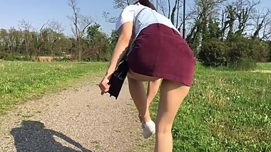 Naughty girl walking and show her ass