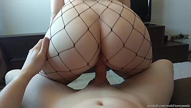 WTF?! He cum in 90 seconds! Creampie in reverse cowgirl with fishnet