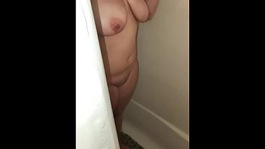 Thick escort taking a shower after quickie