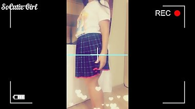 Evening entertainment cute schoolgirl in a skirt. SNAPCHAT FUCK