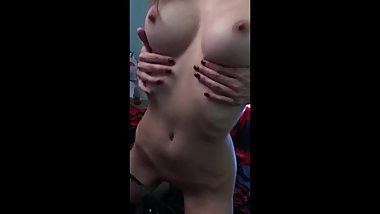 Sexy slim model masturbate at home
