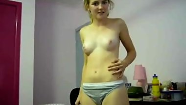 Cute teen striptease. Very shy