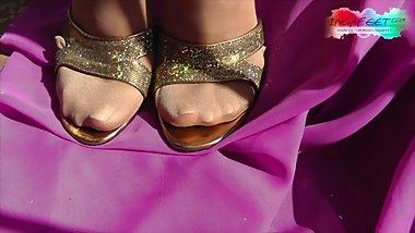 Abandoned house. Inga dirty feet in glossy pantyhose. 6 min.