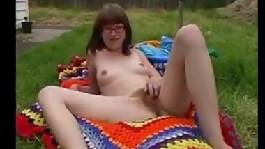 Hairy teen strips in backyard part 1