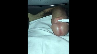 HORNY 18 YEAR OLD VIBRATES MASSIVE CUMSHOT OUT OF PENIS