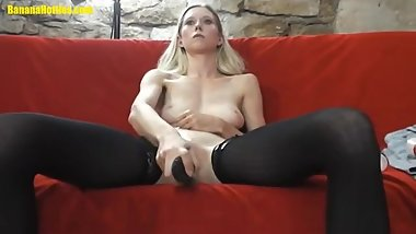 Cute Pale Blonde Fucks Herself With A Dildo