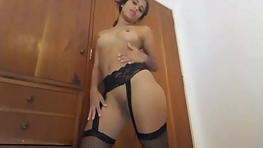 Hot Anal Creampie for Latina Booty Teen in Stockings Lingerie Spanish JOI