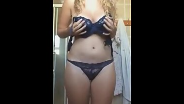 big tit blonde teen stripping