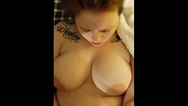 Chubby girl fingers herself while getting PLOWED!!