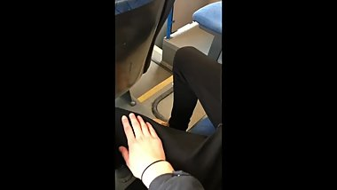 Getting caught handjob in a public bus