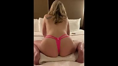 Horny girl fucks pillow for fun and cums in panties