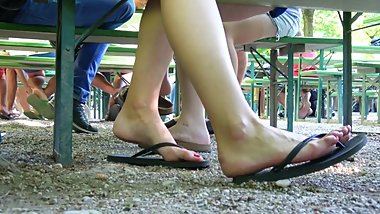 Candid flip flop shoeplay 2