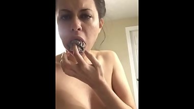 Filthy Brunette Pisses Panties then stuffs in her mouth