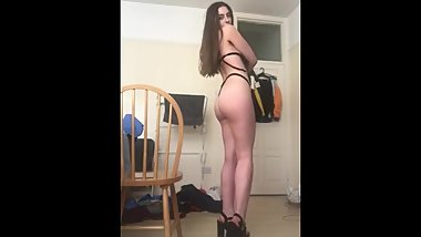 Sexy teen strips in heels