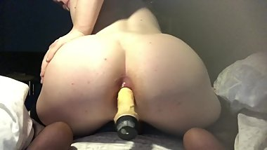 Twink In stockings rides dildo