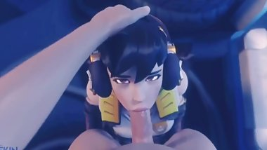 D.Va Small Teen Giving Head on Her Knees
