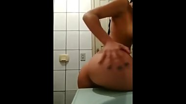 Teen striping in public toilet ( Serbian porn )