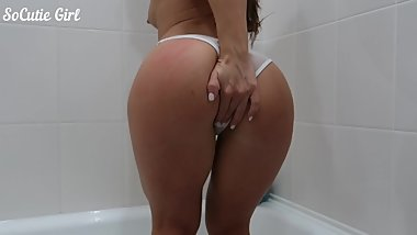 The cutie takes a bath, shaves her pussy and Fucks herself with a Dildo.