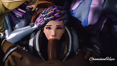 Brigitte Sucking BBC with Sombra and Widowmaker