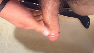 Teen boy jerks Off his oiled up dick in bathroom