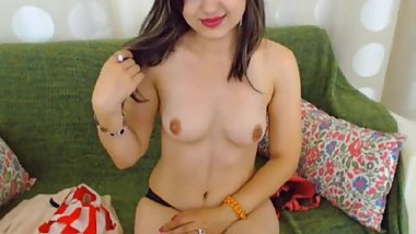 LittleTeenBB Riley strips to just bra and panties, teases with her body