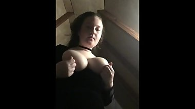 Webslut Lena playing with her big tits