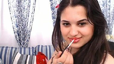 LittleTeenBB Riley performs sexy strip to her underwear, shows off ass.