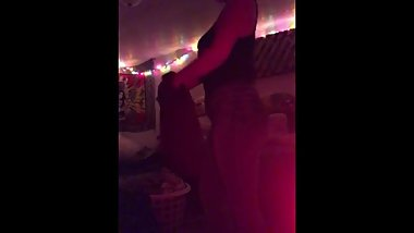Blonde slut does slow strip tease for camera