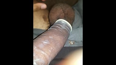 BBC Filled Condom with a full load