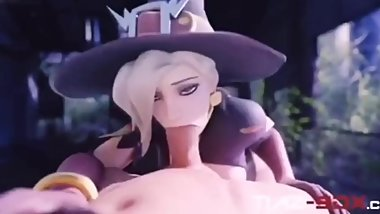 Mercy Giving Amazing Blowjob Outside