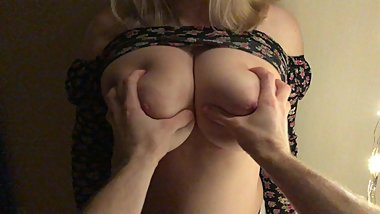 Guy played with huge natural tits for followers Snapchat  POV