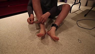 Tying up and showing off my ticklish boy feet!