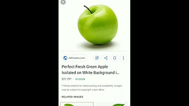 Skinny long-haired hunchback teen orgasming over a picture of a green apple