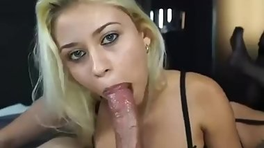 Cute latina sucking huge dick and receiving huge cumshot