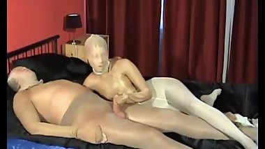 Multilayer Pantyhose Encasement Girl Gives Blowjob And Handjob